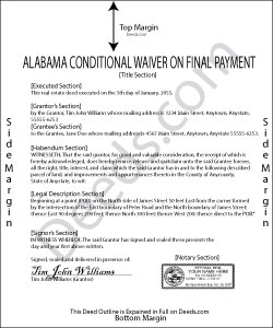 Alabama Conditional Lien Waiver on Final Payment Form