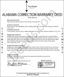 Alabama Correction Warranty Deed Form