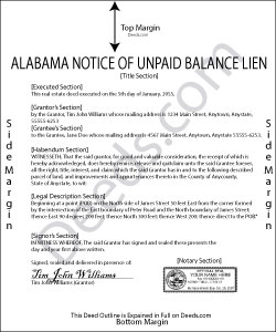 Alabama Notice of Unpaid Balance Lien Form