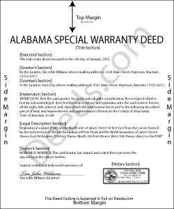 Alabama Special Warranty Deed Form