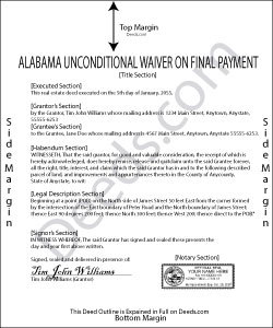 Alabama Unconditional Lien Waiver on Final Payment Form