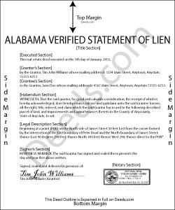 Alabama Verified Statement of Mechanics Lien Form
