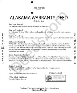 Alabama Warranty Deed Form