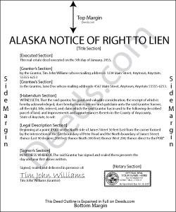 Alaska Notice of Right to Lien Form