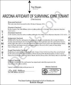 Arizona Affidavit of Surviving Joint Tenant Form
