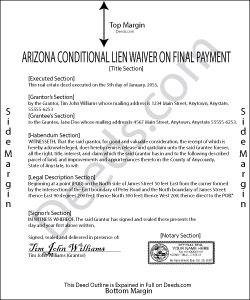 Arizona Conditional Lien Waiver on Final Payment Form