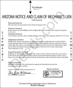 Arizona Notice and Claim of Mechanics Lien Form