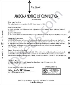 Arizona Notice of Completion Form