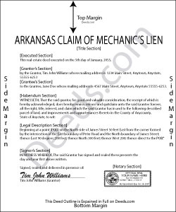 Arkansas Claim of Mechanics Lien Form