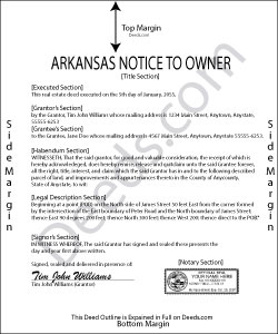 Arkansas Notice to Owner Form
