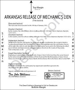 Arkansas Release of Mechanic Lien Form