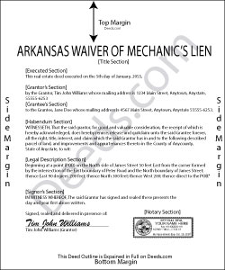 Arkansas Waiver of Mechanic Lien Form