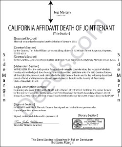 California Affidavit Death of Joint Tenant Form