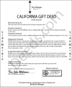 California Gift Deed Form