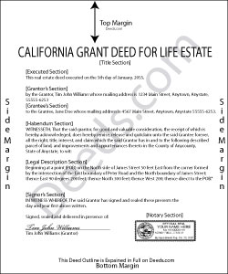 California Grant Deed for Life Estate Form