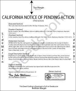California Notice of Pending Action Form