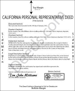 California Personal Representative Deed Form