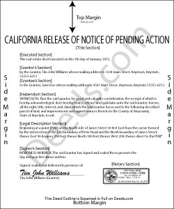 California Release of Notice of Pending Action Form
