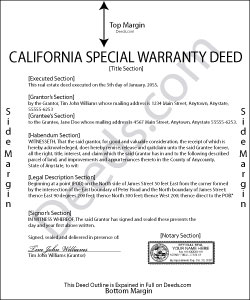 California Special Warranty Deed Form