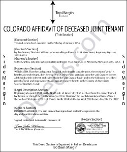 Colorado Affidavit of Deceased Joint Tenant Forms | Deeds.com