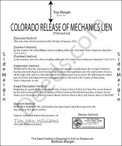 Colorado Mechanics Lien Release Form