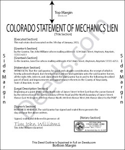 Colorado Statement of Mechanics Lien Form