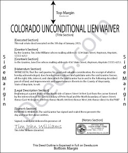Colorado Unconditional Lien Waiver Form