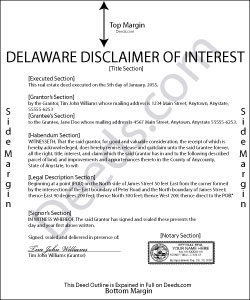 Delaware Disclaimer of Interest Form