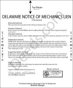 Delaware Notice of Mechanics Lien Form