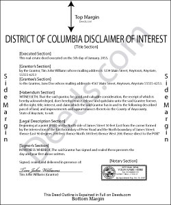 District Of Columbia Disclaimer of Interest Form