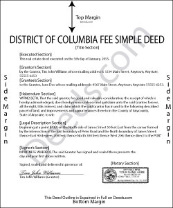 District Of Columbia Fee Simple Deed Form