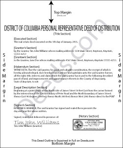 District Of Columbia Personal Representative Deed of Distribution Form