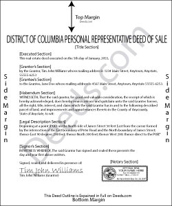 District Of Columbia Personal Representatives Deed of Sale Form