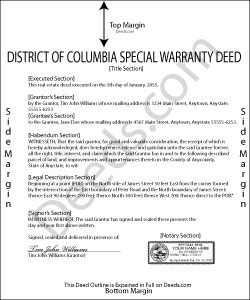 District Of Columbia Special Warranty Deed Form