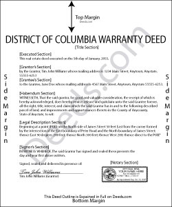 District Of Columbia Warranty Deed Form
