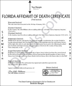 Florida Affidavit of Death Certificate Form
