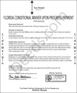 Florida Conditional Waiver and Release of Lien upon Progress Payment Form