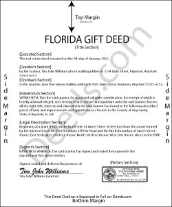 Florida Gift Deed Forms Deeds Com