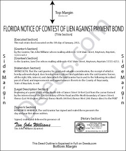 Florida Notice of Contest of Claim Against Payment Bond Form