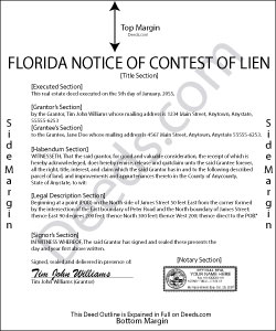 Florida Notice of Contest of Lien Forms | Deeds.com