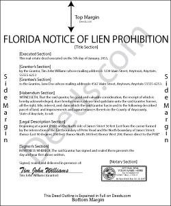 Florida Notice of Lien Prohibition Form