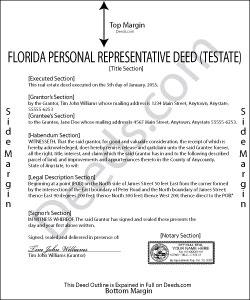 Florida Personal Representative Deed (Testate) Form