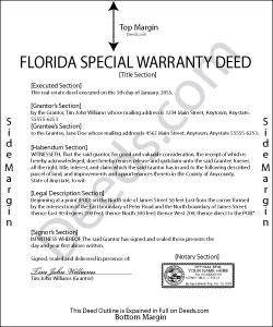 Florida Special Warranty Deed Form