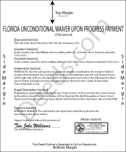 Florida Unconditional Waiver and Release of Lien upon Progress Payment Form