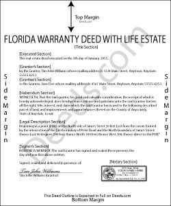 Florida Enhanced Life Estate Deed Ladybird Warranty Deed Form