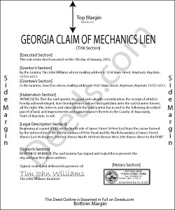 Georgia Claim of Mechanics Lien Form
