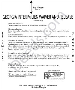 Georgia Interim Lien Waiver and Release Form