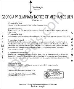 Georgia Preliminary Notice of Mechanics Lien Form