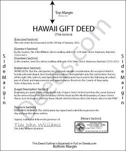 Hawaii Gift Deed Form