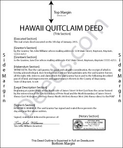 Hawaii Quit Claim Deed Form